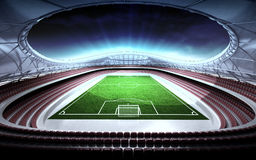 Football stadium general view with cloudy background. Illustration Stock Photo