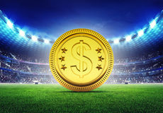 Football stadium with golden Dollar coin Stock Photo