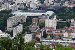 Football stadium in Grenoble, seen from the Bastilla mountain, France royalty free stock photos