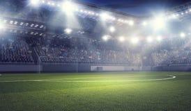 Football stadium in lights . mixed media Royalty Free Stock Photos