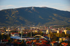 Football Stadium Ljudski vrt And Pohorje stock images