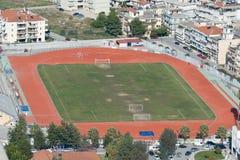 Football stadium of Nafplio in Geece. An aerial view. Stock Photo