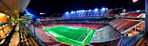 Football Stadium during Night Stock Image