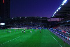 Football stadium at night Royalty Free Stock Images
