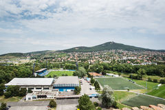 Football stadium in Nitra city and hill Zobor Stock Images