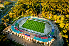 Football stadium in the park. Top view from drone royalty free stock image