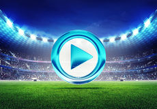 Football stadium with play switch icon Royalty Free Stock Photo