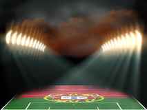 Football stadium with Portugal flag textured field Stock Photo