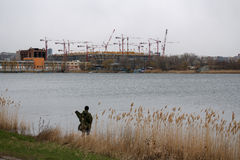 Football stadium Rostov-arena in Rostov-on-Don for world cup 2018. Building c. Construction of a football stadium Rostov-arena in Rostov-on-Don for world cup Stock Images
