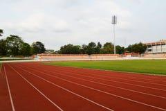 Football Stadium Running track lines Stock Photo