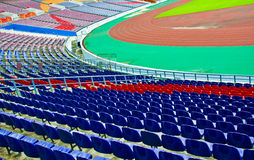 Football Stadium Seating and Pitch. Stock Photography