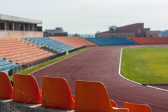 Football stadium seats Royalty Free Stock Photo