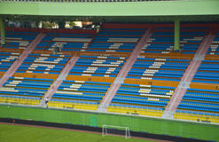 Football stadium seats in stadium of guangzhou. Blue and white football stadium seats viewed from above,it is located in YueXiu Park of Guangzhou Stock Image