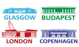 Football stadium 2020 set. Football stadium. Budapest Copenhagen Glasgow London stock photo
