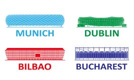Football stadium set. Munich Dublin Bilbao Bucharest royalty free stock image