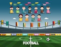Football Stadium with Soccer Team. Vector Sport Infographic vector illustration
