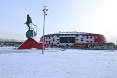 Football stadium Spartak Opening arena and a monument Royalty Free Stock Photos