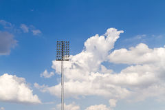 A football stadium sport light with blue sky Royalty Free Stock Image
