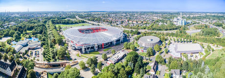 Football stadium in the sun, aerial Royalty Free Stock Photo
