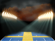 Football stadium with Sweden flag textured field Royalty Free Stock Photos