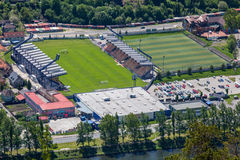 Football stadium at town Ruzomberok, Slovakia Royalty Free Stock Photos