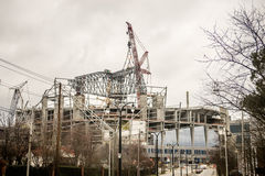 Football stadium under construction Royalty Free Stock Photography