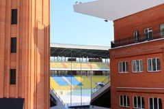 Football stadium in the winter. Before the Euro 2012 Royalty Free Stock Photos