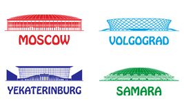 Football stadiums set Stock Image