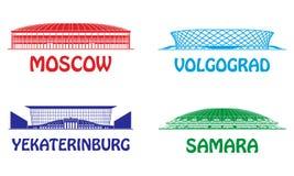 Football stadiums set Stock Image