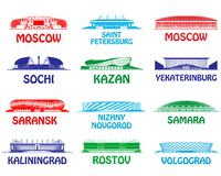 Football stadiums set. Russia 2018 Royalty Free Stock Images