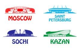 Football stadiums set. Royalty Free Stock Photos