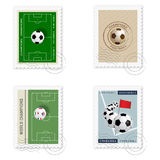 Football stamps. A set of four football stamps Stock Photos