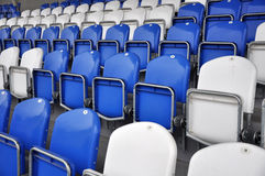 Football stands. With blue and white seats Stock Photography
