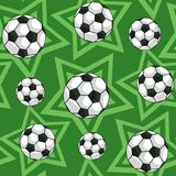 Football and stars seamless pattern. Football ball on field green background and stars. Seamless pattern. Vector illustration Stock Photography