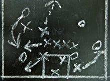 Football strategy. On a chalkboard Stock Photo