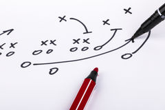 Football strategy. Hand drawing a game strategy on paper Royalty Free Stock Photos