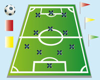 Football strategy. Illustration in the field Stock Photo