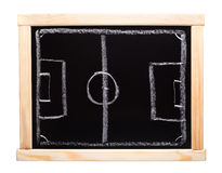 Football strategy planning on blackboard Royalty Free Stock Image