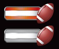 Football on striped banners. Specialized banners with a football Stock Image
