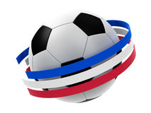 Football 2016 with stripes. Football with stripes in the form of french flag  on white background, represents Euro 2016 - France football championship, three Royalty Free Stock Photo