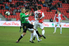 Football struggle - Slavia Prague vs. FK Jablonec. The struggle in Slavia Prague vs. FK Jablonec match within czech football league. It took on 12.3.2012 in Stock Photography
