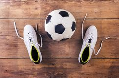 Football stuff on the floor Royalty Free Stock Photo