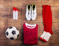 Football stuff on the floor Stock Image