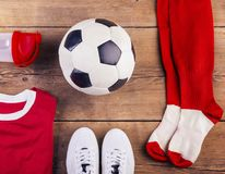 Football stuff on the floor Royalty Free Stock Images