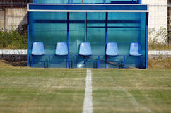 FOOTBALL SUBSTITUTES EMPTY BENCH Stock Photos