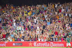 Football supoprters. FCB supporters at Gamper friendly match between FC Barcelona and Club Leon FC, final score 6-0, on August 18, 2014, in Camp Nou, Barcelona Stock Image
