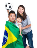 Football supporter of asian family Stock Photography