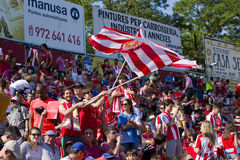 Football supporters. Girona supporters at the Spanish Second Division League match between Girona FC and CD Lugo, final score 1 - 1, on June 7, 2015, in Girona Stock Photo