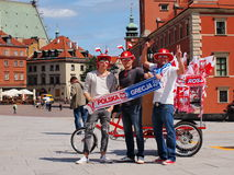 Football supporters in Warsaw Royalty Free Stock Images