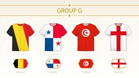 Football t-shirt with flags, teams of group G stock illustration